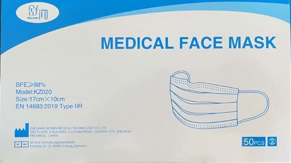 Medizinischer Mundschutz 3 lagig, blau
